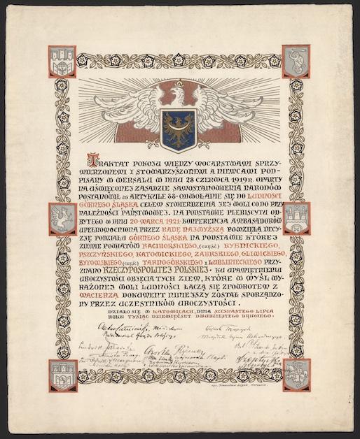 Akt pamiątkowy objęcia Górnego Śląska przez rząd RP, karta 1. Fot. Ewelina Kisiel