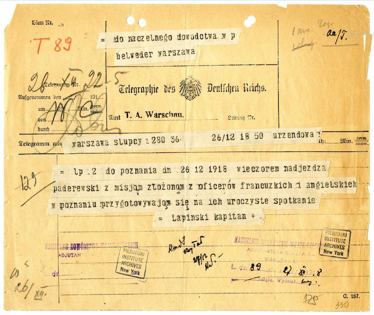 Depesza o przyjeździe Paderewskiego do Poznania, kolekcja Adiutantura Generalna Naczelnego Wodza