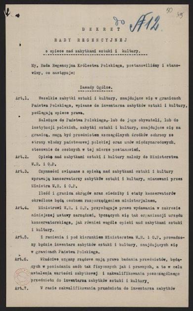 Dekret Rady Regencyjnej o opiece nad zabytkami sztuki i kultury - str 50