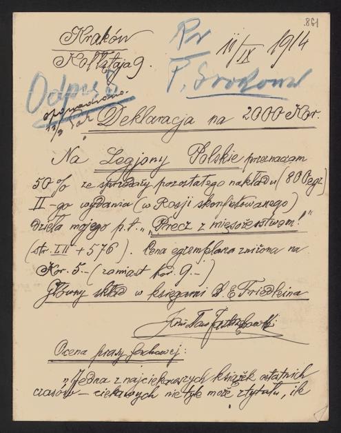 """Deklaracja S. Jastrzębowskiego wpłaty 2000 koron na rzecz Legionów Polskich ze sprzedaży jego dzieła """"Precz z Mięsożerstwem!"""""""