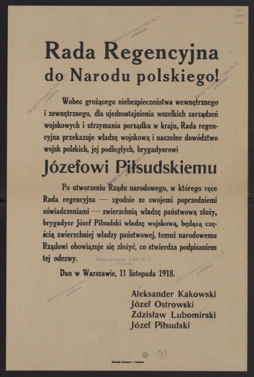 """Afisz """"Rada Regencyjna do Narodu Polskiego!"""" Warszawa, 11 XI 1918 r."""