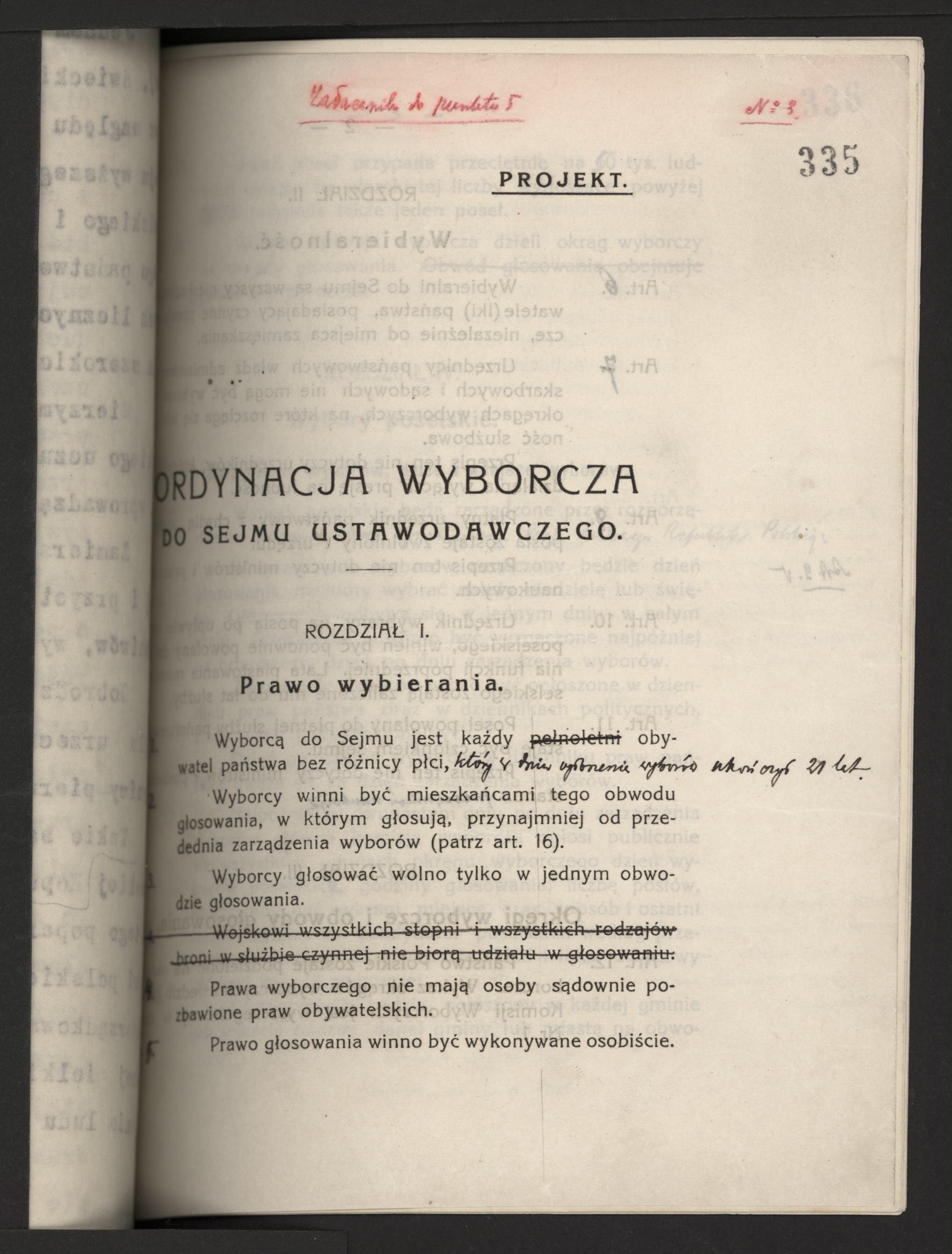 Ordynacja wyborcza do Sejmu Ustawodawczego - Rodział I