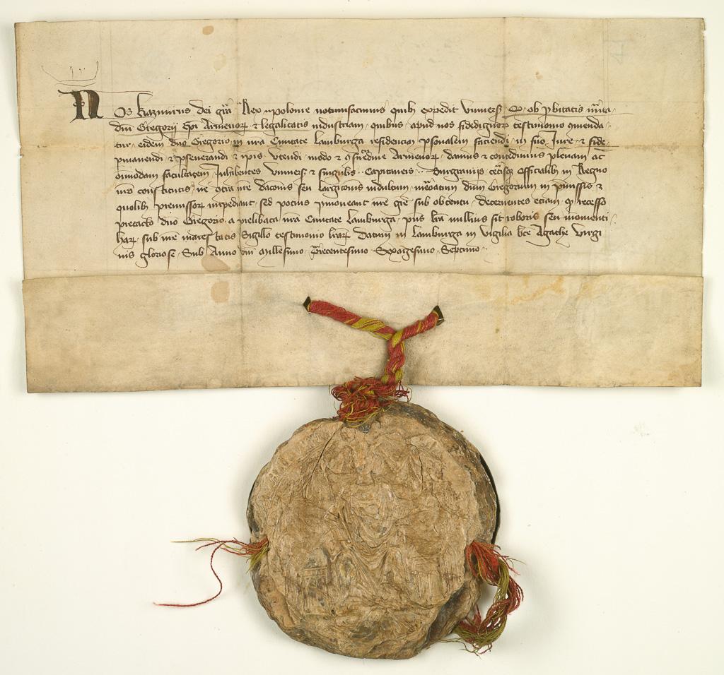 Dokument króla Kazimierza Wielkiego dla biskupa ormiańskiego Grzegorza we Lwowie z 4 lutego 1367 r.