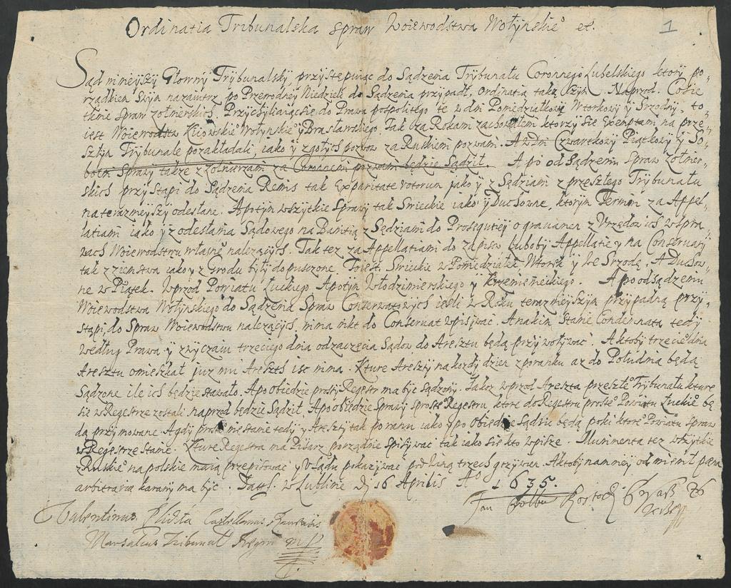 1. Ordynacja Trybunału Koronnego z 1613 r.