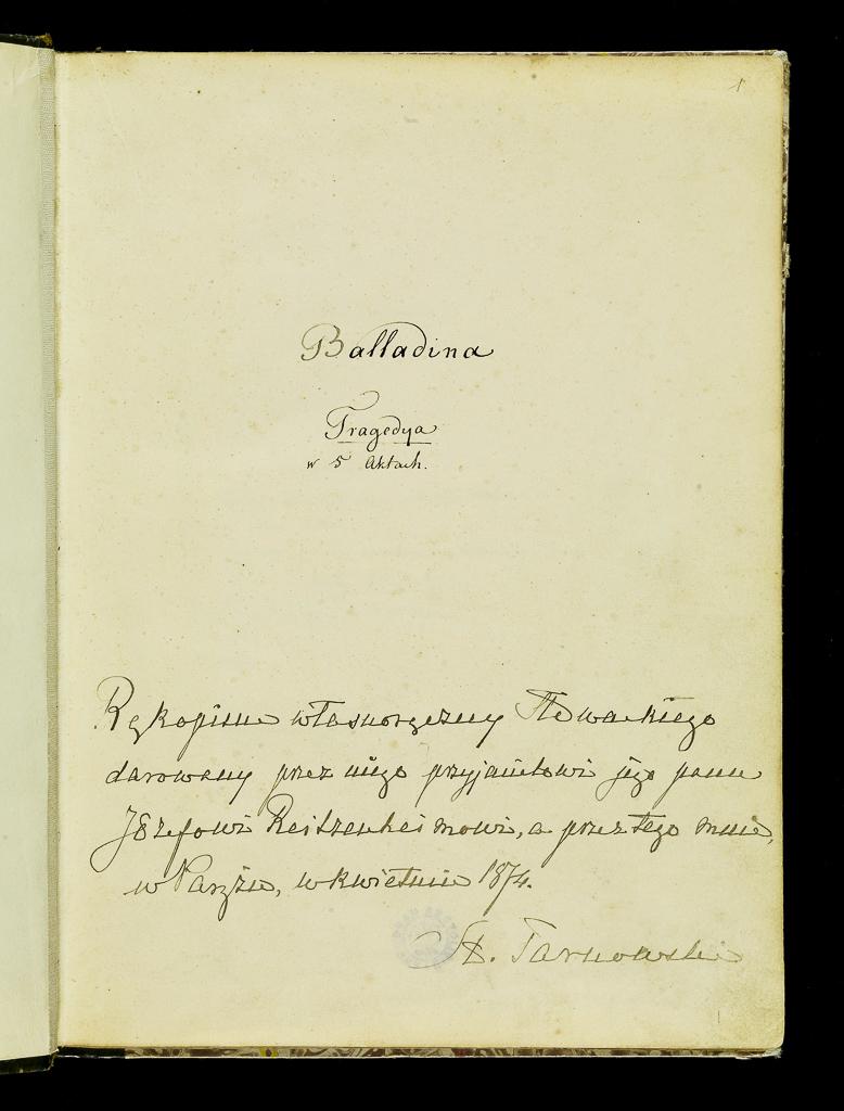 Rękopis Balladyny J. Słowackiego