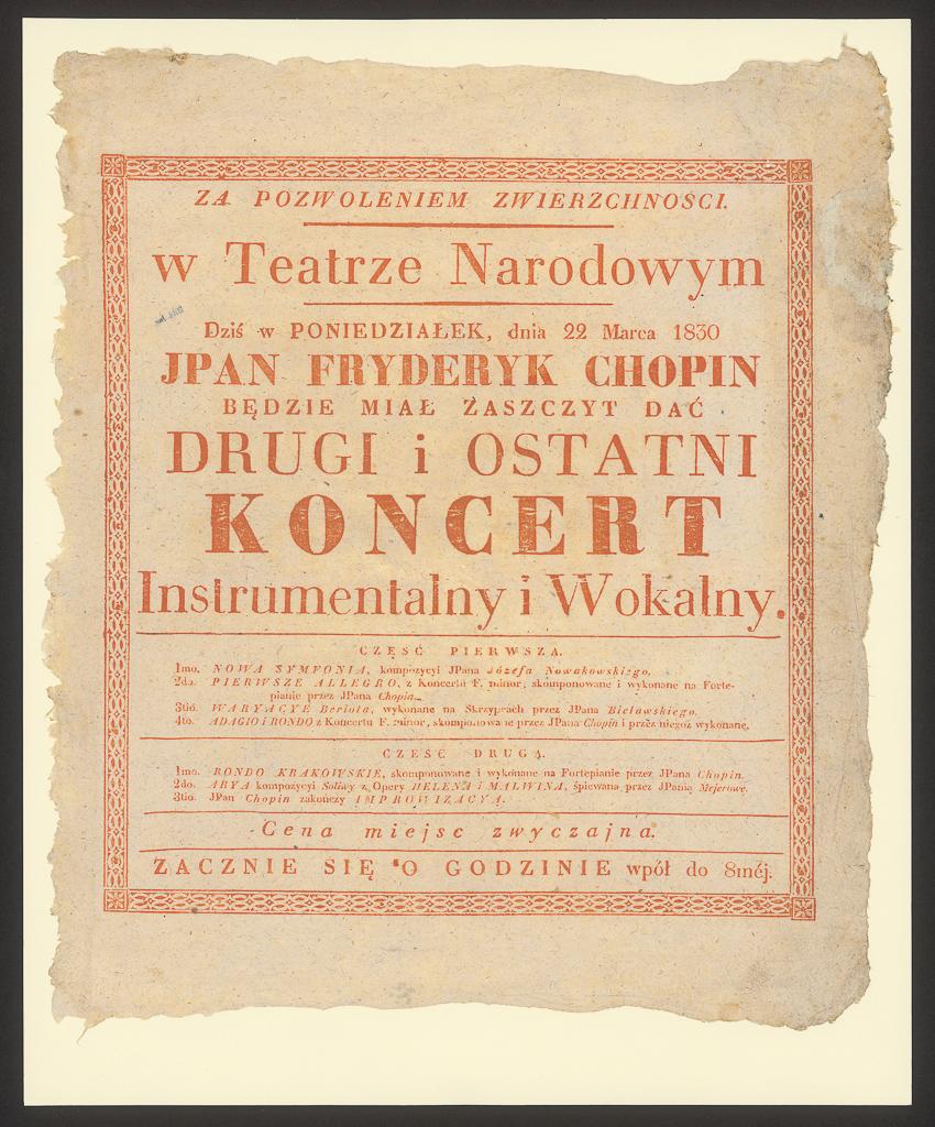 Kolekcję utworów Fryderyka Chopina - afisz zapowaidajacy koncert