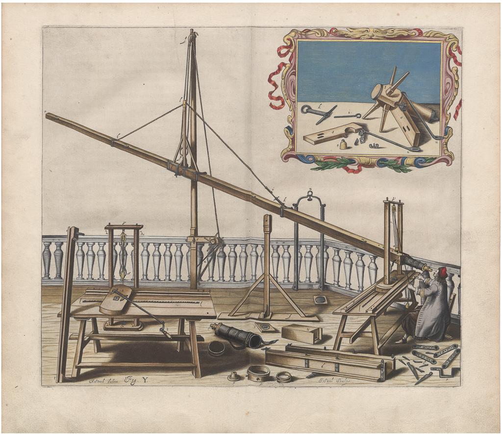 Dzieła Heweliusza - rysunek narzędzi do obserwacji nieba