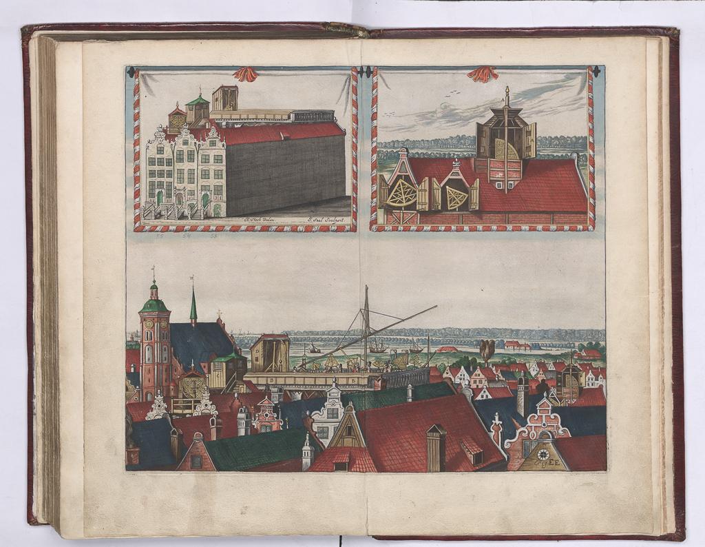 Dzieła Heweliusza - rysunek obserwatorium na dachu