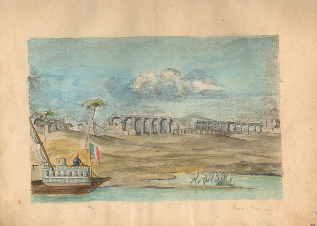 Rekopisy J. Słowackiego - rysunek świątyni i łodzi w Luksorze